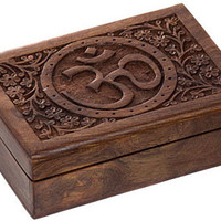 Om - Carved - Storage Box