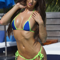 Solid Electric Blue Sexy Small Scrunch Butt Bikini 3pc Tie Side Cheeky Brazilian Bottom Small Triangle Top G-String Thong w/ Neon Green
