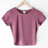 Ribbed Knit Crop Top - Mauve