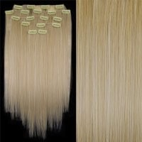 """FACILLA® 8 20"""" #613 Bleach Blonde Straight Full Head Clip In Synthetic Hair Extensions"""