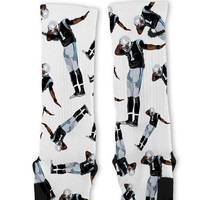 Alternate Cam Newton Dab White Custom Nike Elite Socks