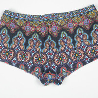 La Iglesia Swimwear Booty Shorts Bikini Bottoms - Red, Gold, Blue and Purple Stained Glass Cathedral Window Swimsuit Print - Fully Lined