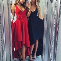 Black Deep V Neck High Low Homecoming Dress