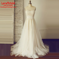 Elegant Flowy A Line Lace Wedding Dresses 2017 wirh Straps Champagne Lining Fashion Ivory Long Country Western Bridal Gowns DW2
