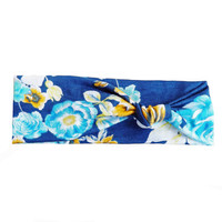 Blue Floral Knot Turban