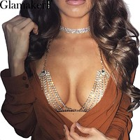 Glamaker Halter handmade shiny rhinestones body chain Sexy summer beach chic women bra accessories Club gold metal bikini