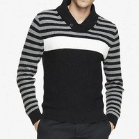 SHAWL COLLAR BLOCK STRIPE SWEATER from EXPRESS