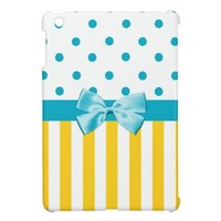 Trendy Yellow Stripes With Blue Ribbon iPad Mini Cover from Zazzle.com