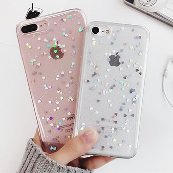 Luxury Bling Glitter Case for iPhone 7 Case For iPhone 8 7 6 6S Plus 5 5S 5SE X Back Cover Love Heart Soft Silicone Phone Cases