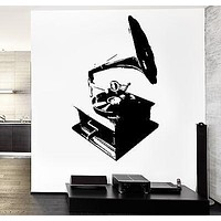 Wall Vinyl Music Gramophone Retro Songs Guaranteed Quality Decal Unique Gift (z3557)