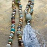 Baby blue boho necklace Amazonite mala beads Beachy blue and brown bohemian extra long necklace Rose gold freshwater pearl boho bead country
