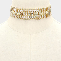 """12"""" gold crystal metal choker collar necklace bridal prom 1"""" wide"""