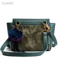 Designer Brand Shoulder Bag With Women Crossbody Bags For Girl Leather+Faux Fur Lady Fashion Vintage Tassel Green Handbag SAJOSE