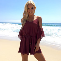 Crush On You Romper In Wine