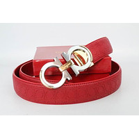 Salvatore Ferragamo Belt Fashion Contracted Smooth Gancio Buckle Belt Leather Belt162