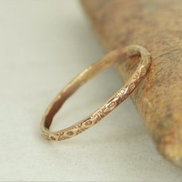 14k Solid Rose Gold Bohemian Ring, G1