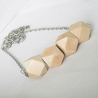 Natural wooden geometric beaded bar necklace, bar necklace, wooden necklace, geometric necklace, gifts for her, natural jewelry, trendy