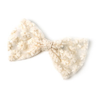 Ivory Embroidered Daisies and Mesh Bow Hair Clip