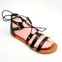 Black Vegan Leather Sandal with Straps