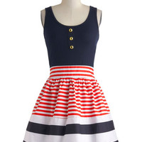 ModCloth Nautical Mid-length Tank top (2 thick straps) Fit & Flare Schooner Said Than Done Dress in Stripes