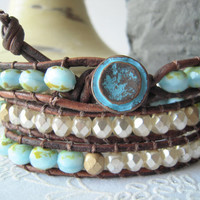 Leather wrap bracelet, soft turquoise, gift idea, bohemian jewelry, gift for her, 2013 trends, bracelet trends, cottage chic, southwestern