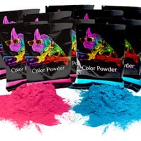 Color Powder Gender Reveal Party Supplies Ideas | Gulal Powder | Colored Cornstarch | 10 Pack of 70g. Bags Holi Powder Colors Pink & Blue