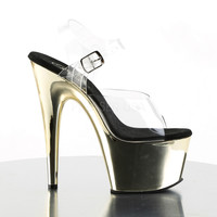 """Adore 708CH Clear Ankle Strap Upper & 7"""" Chrome Platform Heel- Gold"""