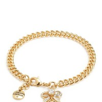 Gold Pave Bow Charm Bracelet by Juicy Couture, O/S