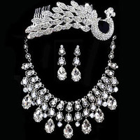 Crystal Pearl Necklace Earring Peacock Crown Jewelry Set Wedding Bridal NEW A02