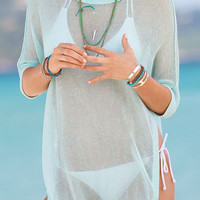Light Green Sheer Beachwear with Asymmetrical Hem