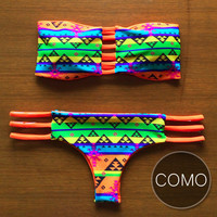 COMO - Handmade Brazilian Bikini with Reversible Bottom & Bandeau Strap Top in Unique Design