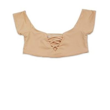Seamless Off Shoulder X Front Top