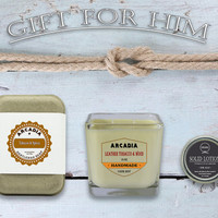 Gift for Him Scented solid lotion in a travel tin, Scented soy candle & Scented natural soap