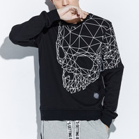 Cotton Men's Long Sleeve T shirts With Skull Pattern