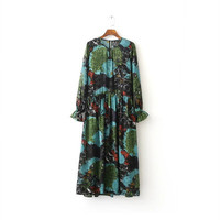 2016 Trending Fashion Floral Printed Women High Waisted Long Sleeve One Piece Dress  _ 9954