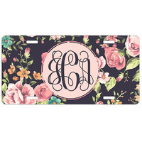 Monogrammed Car Tag Floral Roses Personalized Front License Plate 9348