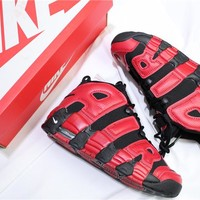 Air More Uptempo Black/Red Sneaker Shoes