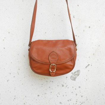 Vintage Tan Brown LONGCHAMP PARIS Leather Purse , Crossbody Bag / Small / Authentic / Made in France