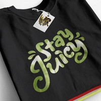 Guava Juice Stay Juicy, Green Chrome logo, limited youtuber, T-shirt 100% Cotton, Unisex adult's, Boys, Girls, Link.