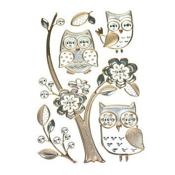Floral Owl Embossed Room Decor Wall Art Stickers, 6-Piece