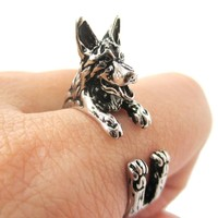 3D German Shepherd Shaped Animal Wrap Ring in Shiny Silver | Sizes 4 to 8.5