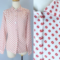 Vintage Mod Blouse, Retro Blouse, 1960s Blouse, Dotted Shirt Top, 60s Red White Blouse, Button Down Shirt, Silky Blouse, Soft Blouse
