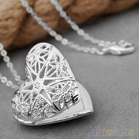 Women's Fashion Silver Plated Hollow Out Heart Photo Locket Pendant Necklace  1PBU