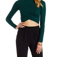 Forest Green Ribbed Mock Neck Wrap Top by Charlotte Russe