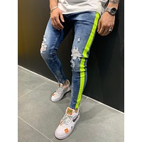 Mens Street Style Washed Jeans Side Stripes 4535
