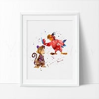 Abu & Iago, Aladdin Watercolor Art Print