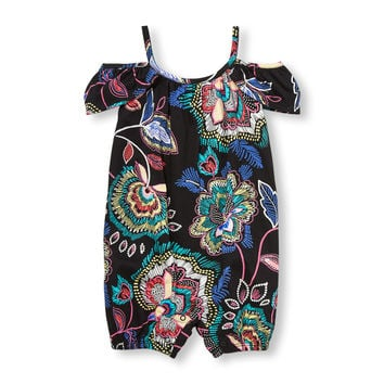 Baby Girls Sleeveless Paisley Print Cold-Shoulder Knit Romper | The Children's Place