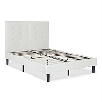 Queen size Off-White Light Grey Faux Leather Upholstered Platform Bed with Headboard