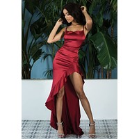 Japonaise Gown Satin Red Maxi Dress