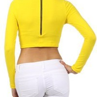 Tanny's Couture LLC —  Solid Long Sleeve Turtle Neck Cropped Top With Back Zipper